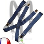 Bretelles homme vichy bleu