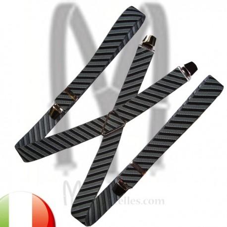 bretelles rayures noires et grises
