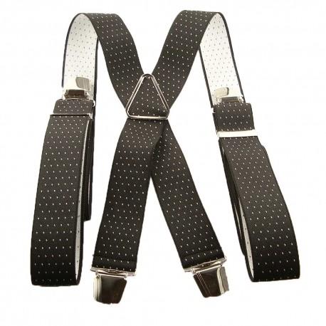 Bretelles noires à pois blanc