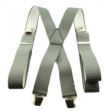 Bretelles bleu gris et pois blanc