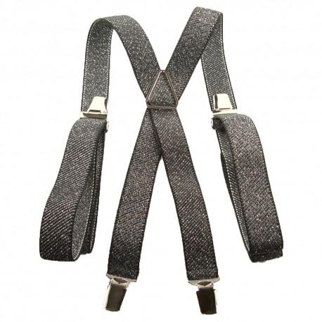 Bretelles fines strass metal noir