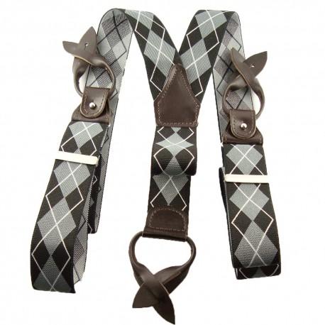 Bretelles à boutons losanges noir et gris