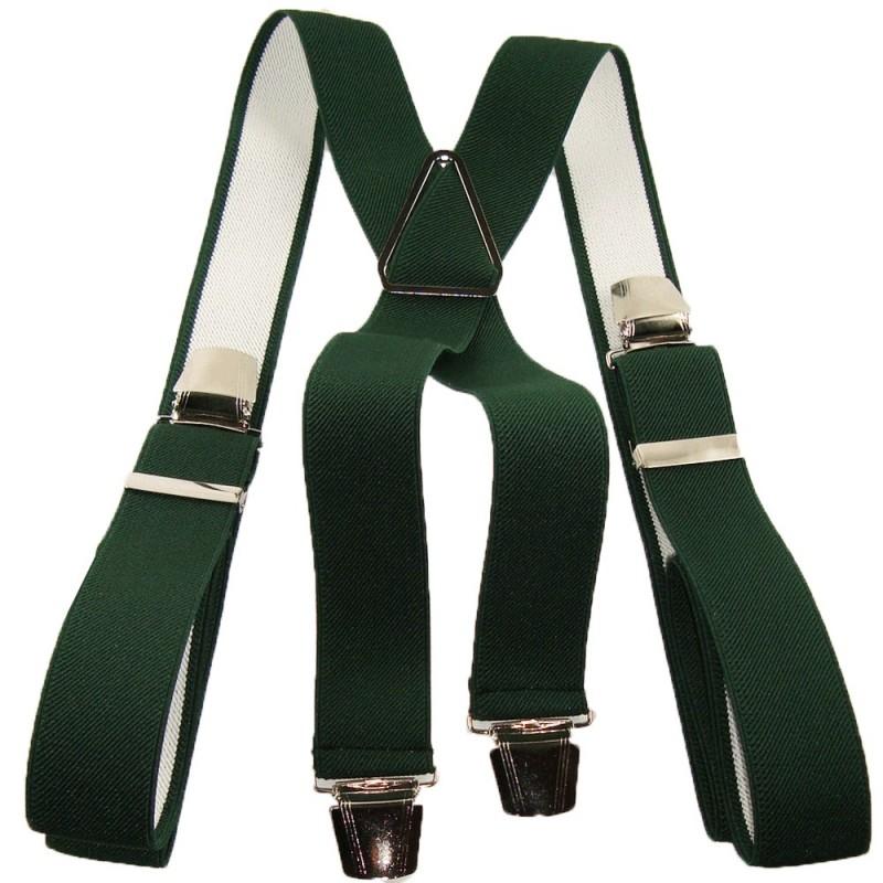 paire de bretelles pour homme grande taille vert uni 120cm. Black Bedroom Furniture Sets. Home Design Ideas