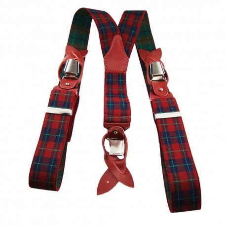 Bretelles écossais rouge et vert homme