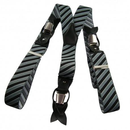 Bretelles rayures chic noir