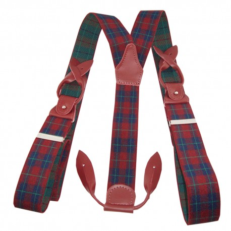 Bretelles à boutons ecossais rouge